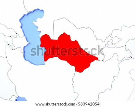 Turkmenistan region map stock images royalty free images map of turkmenistan highlighted in red on simple shiny metallic map with clear country borders sciox Image collections