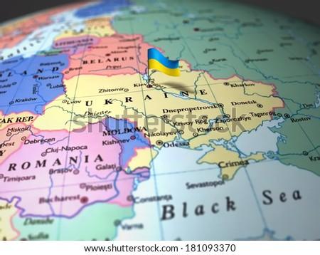 map of Ukraine in focus  - stock photo