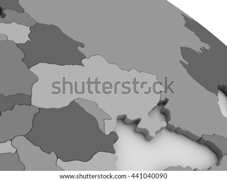 Map of Ukraine on grey model of Earth. 3D illustration - stock photo