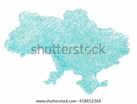 map of Ukraine-style Halftone Offset Pattern - stock photo