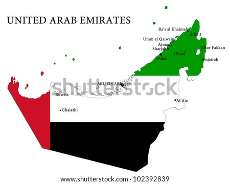 map of united arab emirates country