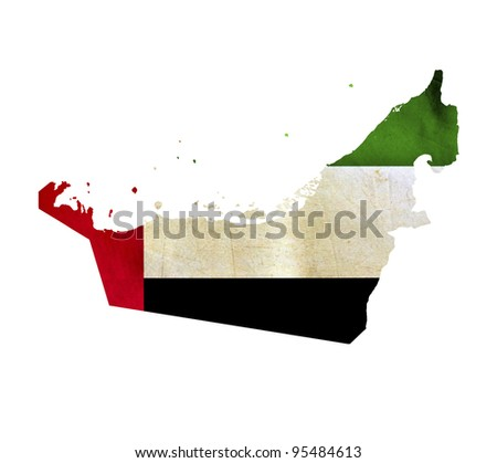 Map of United Arab Emirates isolated - stock photo