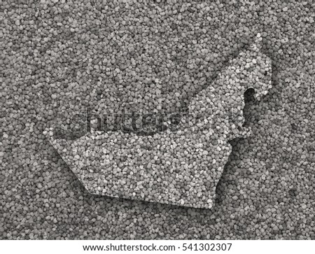 Map of United Arab Emirates on poppy seeds