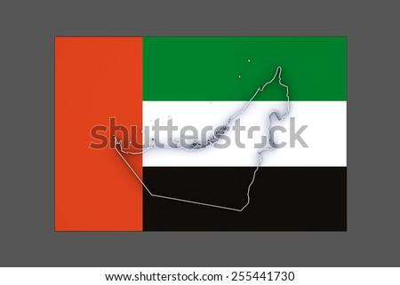 Map of United Arab Emirates (UAE). 3d - stock photo