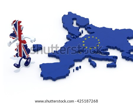 map of United Kingdom with arms and legs that runs away from Europe, 3d illustration