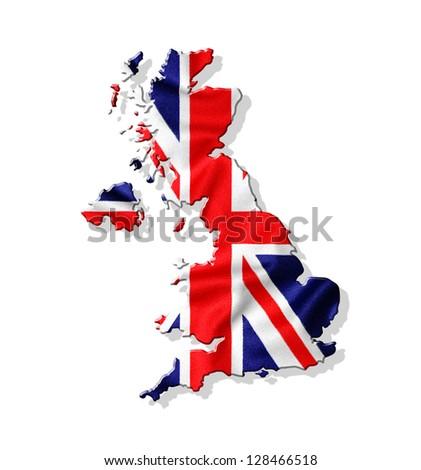 Map of United Kingdom with waving flag isolated on white background - stock photo