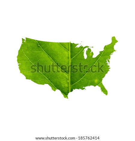 Map of United States made of green leaf with clipping path, isolated on white background. - stock photo