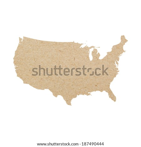 Map of United States made of recycled paper isolated on white background - stock photo