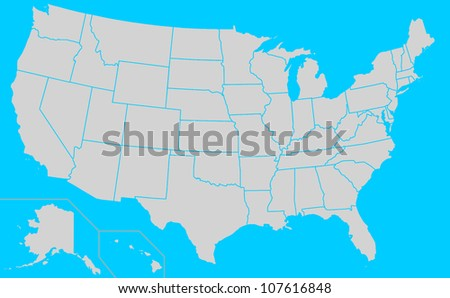 Map of United States of America showing borders of different electoral states, blue background. - stock photo