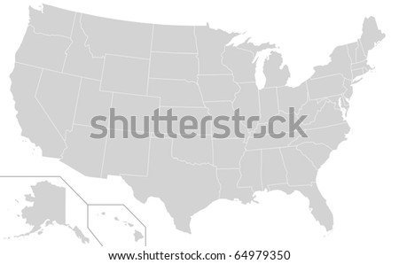 Map of United States of America showing borders of different electoral states, white background.