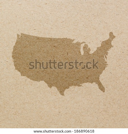 Map of United States on recycled paper - stock photo
