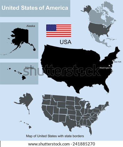 Map Of United States With State Borders Including Alaska And Hawaii