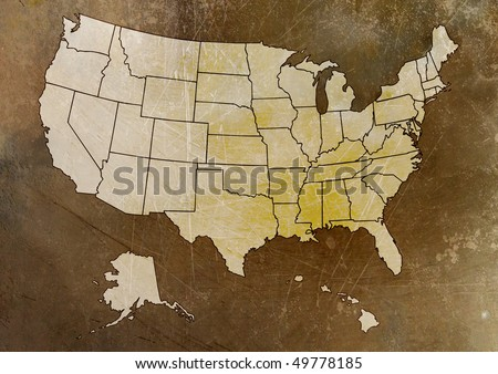 Map of US with states