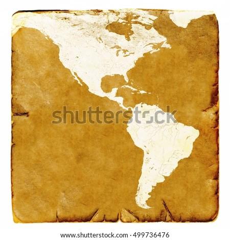 Map Usa Latin America Blank Old Stock Illustration 499736476