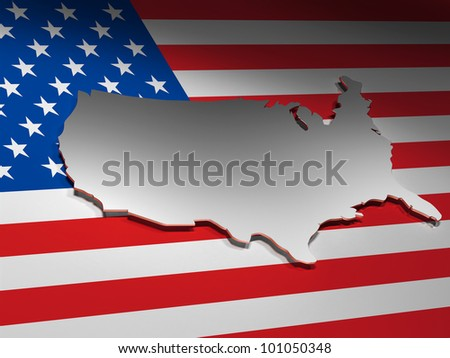Map of USA / 3d render Image. - stock photo