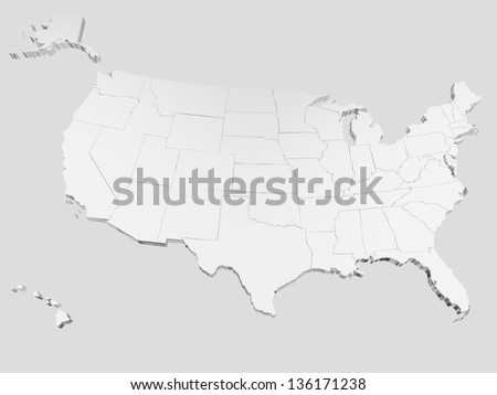 Map of USA. 3D render. Include Hawaii and Alaska. - stock photo