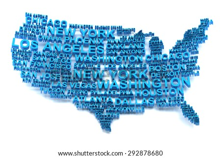 Map of USA formed by names of major cities, 3d render