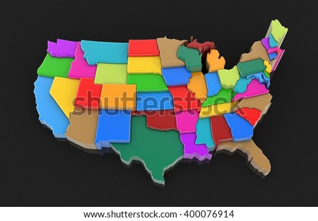 Map of USA. Image with clipping path. - stock photo