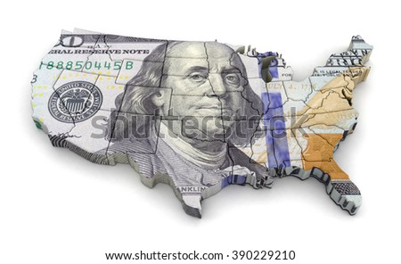 Map of USA with dollar. Image with clipping path. - stock photo