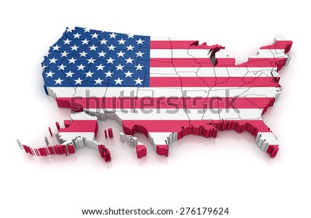 Map of USA with flag. 3d render and computer generated image. isolated on white. - stock photo