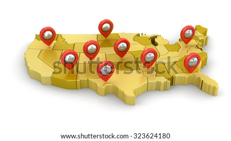 Map of USA with Pointers. Image with clipping path. - stock photo