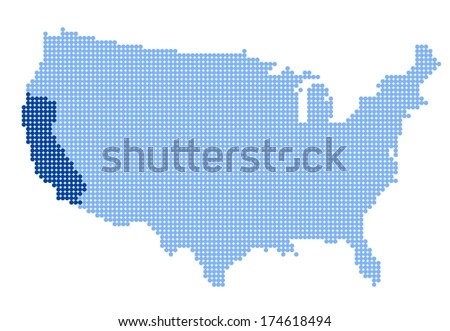 Map of USA with stylized map of California made from blue dots - stock photo