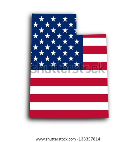 Map of Utah, filled with the national flag - stock photo