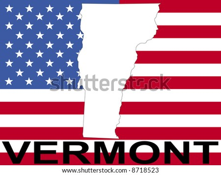map of Vermont on American flag illustration JPG