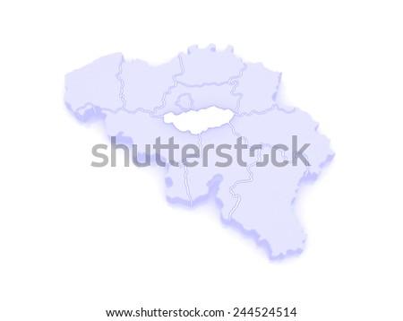 Map of Walloon Brabant. Belgium. 3d - stock photo