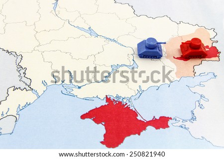 Map of War in Donbass, Ukraine with Tank - stock photo