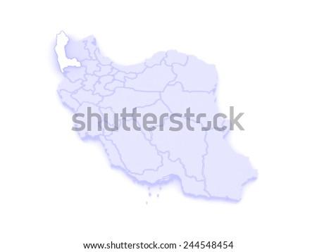 Map of West Azerbaijan. Iran. 3d - stock photo