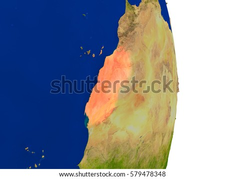 Map of Western Sahara in red on planet Earth. 3D illustration with detailed planet surface. Elements of this image furnished by NASA.
