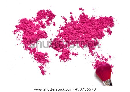 Map of world from color cosmetic with brush isolated on a white background