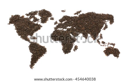 Map of world from tea isolated on a white background