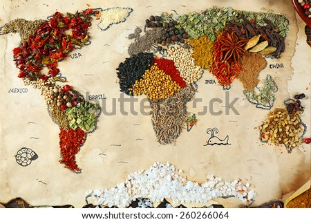 Map of world made from different kinds of spices, close-up - stock photo