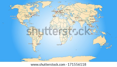 Map of world with main cities in pastel orange - stock photo