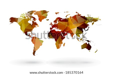 map of world with trendy triangles design - stock photo