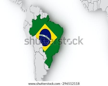 Map of worlds. Brazil. 3d - stock photo