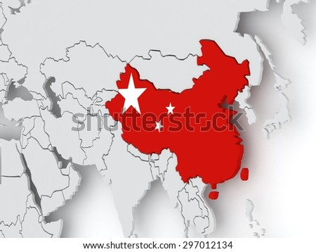 Map of worlds. China. 3d - stock photo
