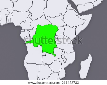 Map of worlds. Democratic Republic of Congo. 3d