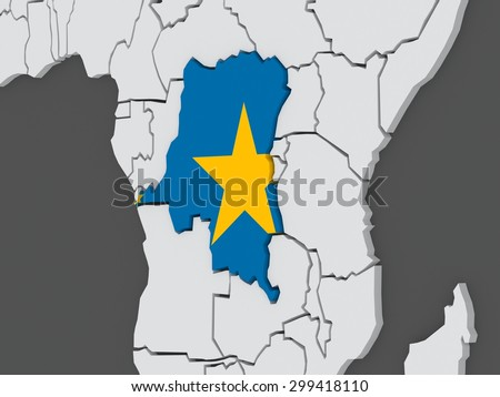 Map of worlds. Democratic Republic of Congo. 3d - stock photo