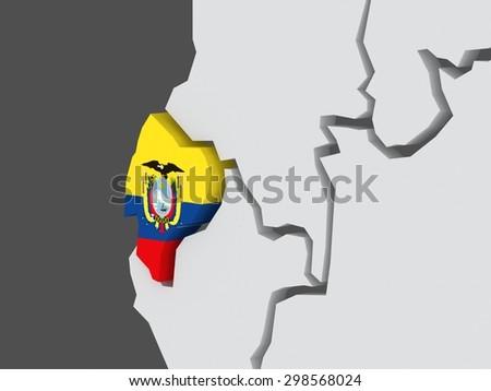 Map of worlds. Ecuador. 3d - stock photo