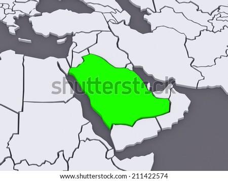 Saudi Arabia Map 3d Saudi Arabia 3d Stock Photo