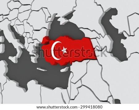 Map of worlds. Turkey. 3d - stock photo