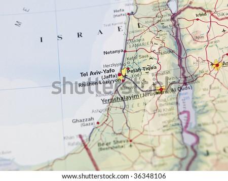 Map of Yerushalayim - stock photo