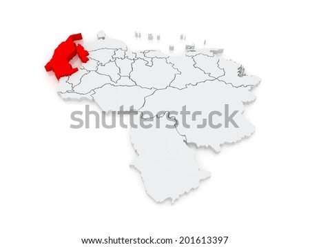 Map of Zulia. Venezuela. 3d