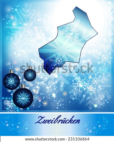 Map of Zweibruecken in Christmas Design in blue