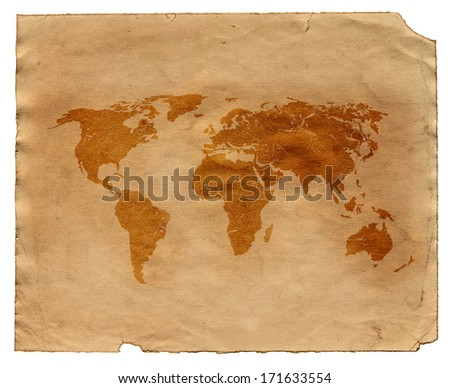 Map on the old paper - stock photo