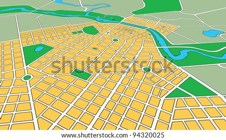 Map or plan of generic urban city showing streets and parks in perspective angle - stock photo