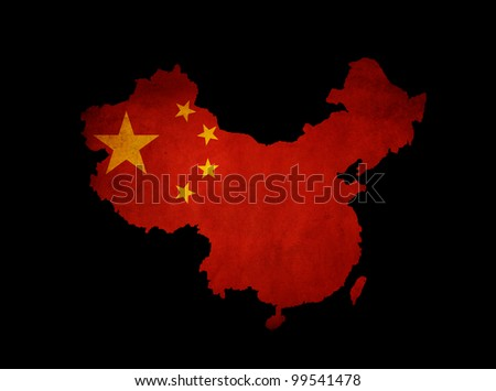 Map outline of China with grunge map insert isolated on black - stock photo